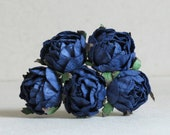 30mm Navy Blue Paper Peonies (5 pieces) - Small mulberry paper flowers with wire stems [174]
