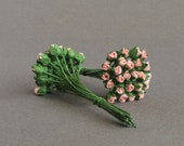 3mm Micro Coral Pink Rose Buds - 25 tiny mulberry paper flowers with wire stems [1152]