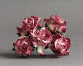25mm Burgundy Ombre Wild Roses - 5 mulberry paper flowers with wire stems [508-t]