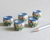 5 Miniature Tulip Plant Pots - Hand painted ceramic - Floral motif - Round with wide opening - 18mm (3/4 inch) tall