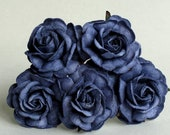 35mm Navy Blue Roses with Ombre Effect - 5 mulberry paper flower with wire stems - Great for wedding decoration and bouquet [174-e]