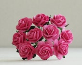 20mm Hot Pink Paper Roses - 10 mulberry paper flowers with wire stems [118]