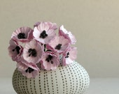 Lilac Paper Poppies - Mini purple flowers with black stamen - Made of mulberry paper with wire stems - Set of 10 [188]