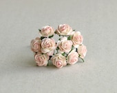 10mm Tiny Peach Paper Roses - 10 mulberry paper flowers with wire stems [4529]