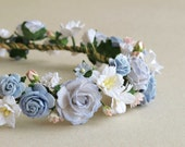 Flower Crown - Serenity blue paper flower head band - Made of mulberry paper flowers and natural twine