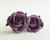 50mm Large Deep Purple Roses (2pcs) - mulberry paper roses with wire stems [182]