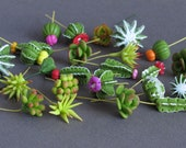 Miniature Succulents - Made of air dry clay and wire stems - 10 pieces per pack - Assorted (Random) - [G1-S]