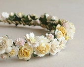 Ivory & Yellow Flower Crown - Paper flower hair accessory - Made of mulberry paper and natural twine