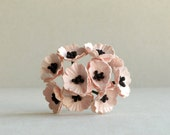 Pale Pink Paper Poppies - Miniature - Made of mulberry paper with wire stems - Set of 10 - Great for doll houses [124]