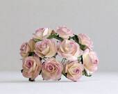 25mm Purple Peach Ombre Roses - 10 mulberry paper flowers with wire stems [506]