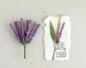 Lavender Flowers - 10 Violet mulberry paper flowers with wire stems - Miniature - Great for scrapbooking, wedding favour & boutonniere [182]
