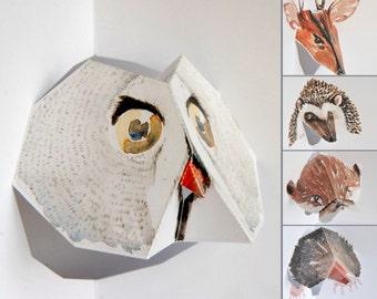 Pop up Cards - Set of 5 - British Wildlife (2) - Featuring Owl, Deer, Hedgehog, Otter & Mole - Watercolour print