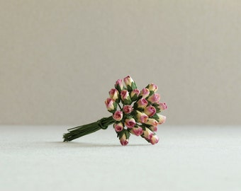 4mm Purple & Peach Paper Rose Buds - 25 tiny mulberry paper flowers with wire stems [547]