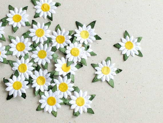 25mm White Die Cut Daisy 20 Flat Paper Flower With Yellow Etsy