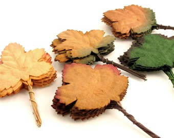 Autumn Maple Leaves - 50 assorted mulberry paper leaves with wire stems - Perfect for wedding decoration, scrapbooking & card making