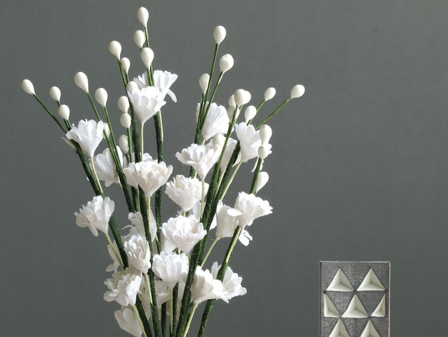 White gypsophila flowers 10 mulberry paper flowers with wire etsy image 0 mightylinksfo
