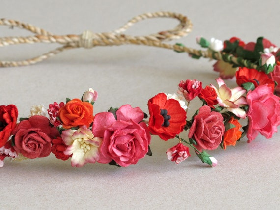 Red paper flower crown made of mulberry paper flowers and etsy image 0 mightylinksfo