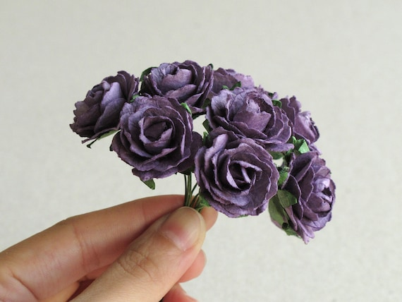 25mm purple paper peonies 10 mulberry paper flowers with etsy image 0 mightylinksfo
