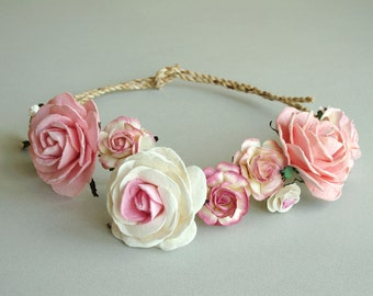 Pink Flower Crown - Large Boho headpiece - Made of mulberry paper flowers and natural twine