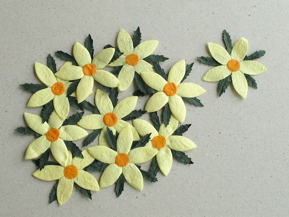 50mm Large Yellow Die Cut Flowers 10 Flat Mulberry Paper Etsy