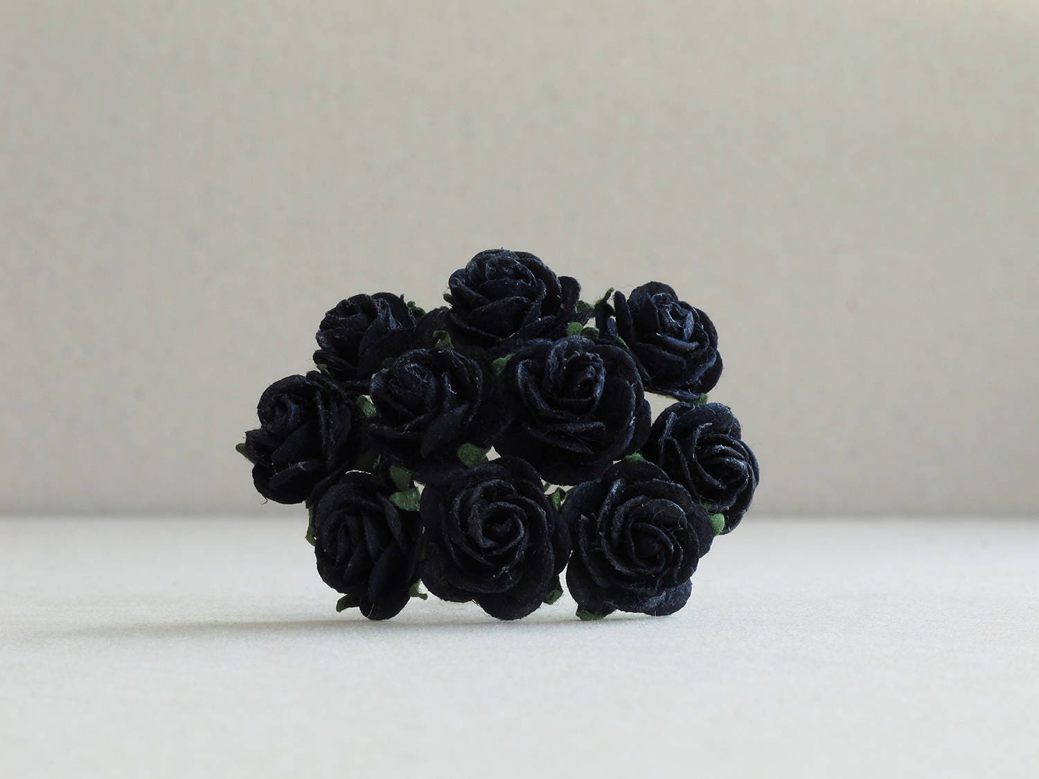 20mm Black Paper Roses 10 Mulberry Paper Flowers With Wire Etsy