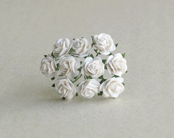 15mm Mini White Paper Flowers - 10 mulberry paper roses with wire stems [152]
