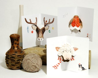Set of 3 Christmas Cards - Pop up card set featuring Robin, Reindeer & Sheep wearing scarf - Watercolour print