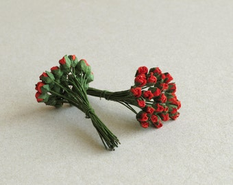 3mm Scarlet Red Paper Rose Buds - 25 mulberry paper flowers with wire stems [101]
