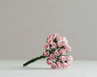 5mm Light Pink Rose Buds - 25 mini mulberry paper flowers with wire stems [122]