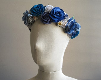 Blue Flower Crown - Large Boho headband - Made of mulberry paper flowers