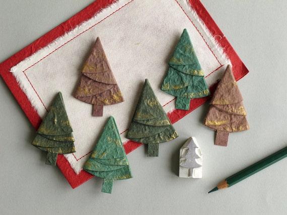 6 Paper Christmas Trees Die Cut Green & Brown Pine Trees