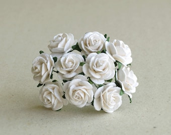 20mm White Paper Flowers - 10 mulberry paper roses with wire stems [152]