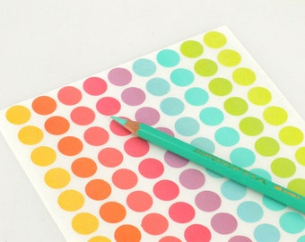 12mm Mini Dot Stickers - Assorted pastel stickers - Ideal for gift tags & scrapbooking - Yellow, Orange, pink, purple, mint and lime-green