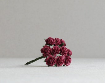 10mm Tiny Burgundy Red Roses - 10 mulberry paper flowers with wire stems [104]