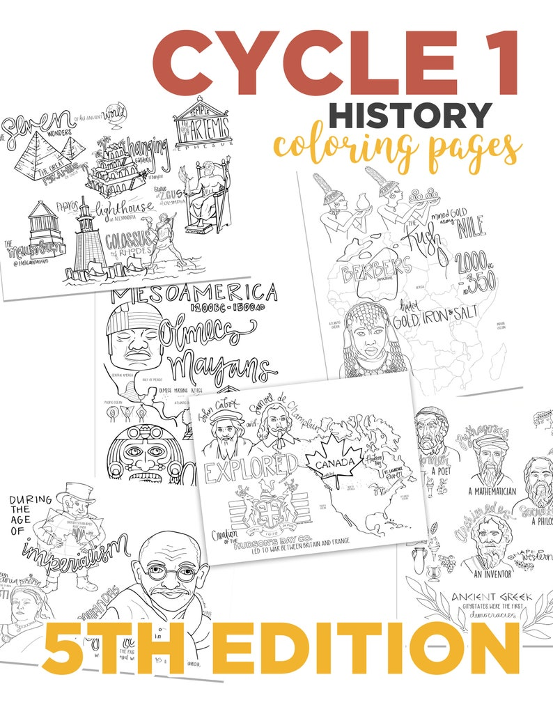 Cycle 1 HISTORY coloring pages 5th edition image 0