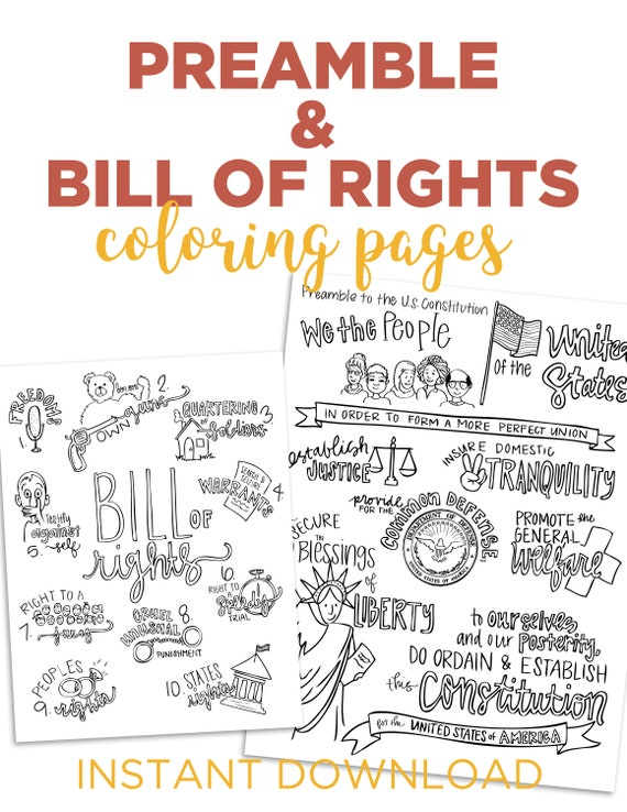 Color The Preamble And Bill Of Rights Etsy