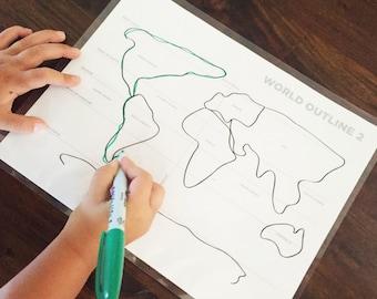 World outline BLOB maps