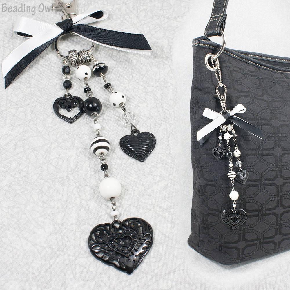 Black and Gray Mixed Glass /& Stone Purse Handbag Charm Key Chain Ring