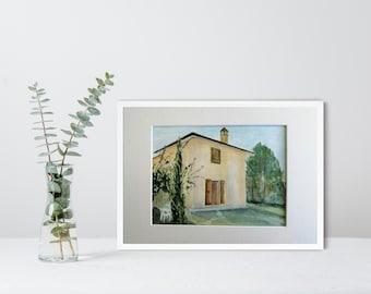 Italian Landscape, UNFRAMED, Original Acrylic Ink Painting, Umbrian Villa, Italy Painting, Italian Villa, Umbria, A4 Matted Art, Wall Decor