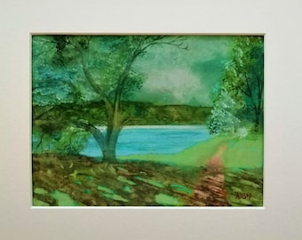 Blagdon Lake Landscape with Trees, Original Watercolour Landscape Painting, Lake Tree Art, Original Painting, Matted Artwork, A4 Mount