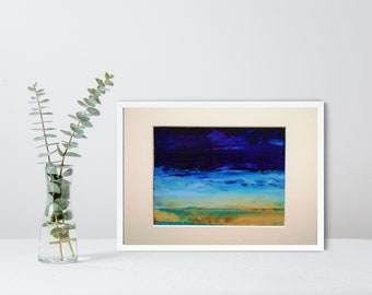 Modern Seascape , UNFRAMED, Wave Painting, Contemporary Art for Sale, Oil on Paper,  Abstract Painting , Modern Art, Blue Sea, Coastal Art