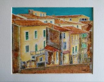 Tuscany Painting, Italy Mixed Media, Italy Painting, Tuscany Art, Original Mixed Media, Italian Landscape, Italian Art, Matted Artwork, Art