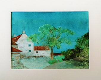 Butcombe Village Looking Towards Yew Tree Farm , Original Watercolour Landscape Painting, North Somerset Art, Original Painting , A4 Mount