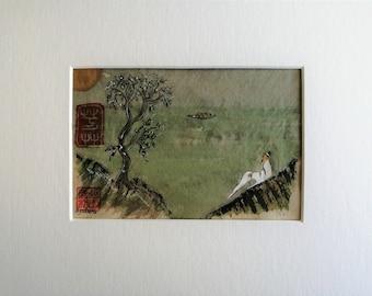 Chinese Landscape Painting, Original Chinese Watercolour, Chinese Artwork, Chinese Wall Decor, Oriental Artwork, Chinese Figure, Matted Art