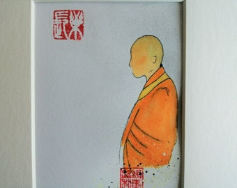 "Zen Buddhist Monk Painting, Monk Art, Altar Art, Zen Painting , Acrylic Ink, Mount 10"" x 8"" , Mindfulness Art, Meditation, Buddhism, Monk"
