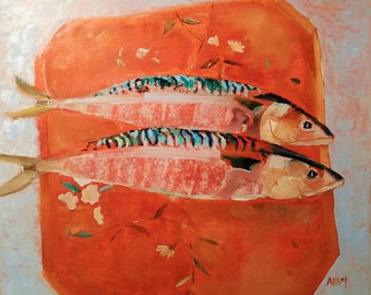 """Original Impressionist Mackerel Oil Painting, Impressionist Fish, Original Fish Oil  Painting, Still Life Painting, 10 """" High x 12 """" Wide"""