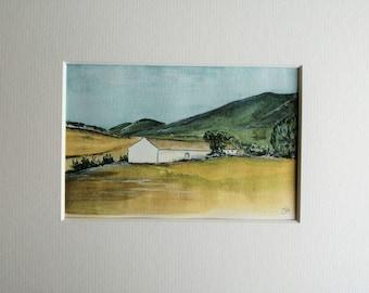 Torremolinos Countryside View 1960's, Original Spanish Landscape, Spanish House Painting, Spain Artwork, Small Matted Art, Jo Allsop