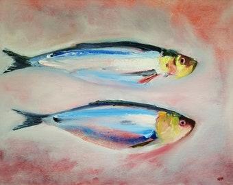 Deux Harengs, Original Fish Oil Painting, Ready to Hang Deep Canvas, Sea Fish Interior Wall Decor, Coastal Theme Art, Fish Canvas Artwork