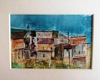 Original Mixed Media, Tuscany Painting, Tuscany Village Landscape, Tuscany Art, Italian Landscape, Italian Artwork, 10 x 8, Matted Artwork