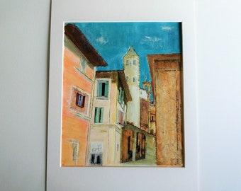 Citta di Castello Umbria Painting, Mixed Media Painting, Umbria Italy Art, Original Mixed Media, Italian Landscape, Italian Artwork, 12 x 16